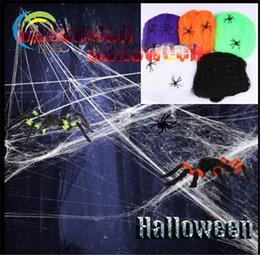Vente en gros 2018 Décoration de fête d'Halloween Toiles d'araignée en toile web Bar Haunted House Hallowmas Toile d'araignée Les produits de Saints 'Day fournissent des cadeaux aux enfants
