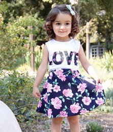 Baby Girl Summer Suits Canada - Summer baby girls vestidos suits floral layered short dresses sleeveless t-shirts vest LOVE letters print fashion lovely style hot selling