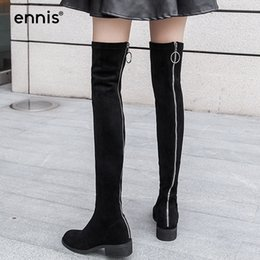 Back Zipper Boot NZ - ENNIS 2017 Over-The-Knee Boots Flat Black Women Stretch Knee High Leather Boots Round Toe Fashion Back Zipper Shoes Autumn L763