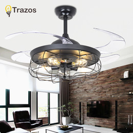 Discount retractable remote control - TRAZOS Village Kids Ceiling Fan With Lights Black Folding Ceiling Fans With Remote Control Bedroom Retractable Fan Lamp