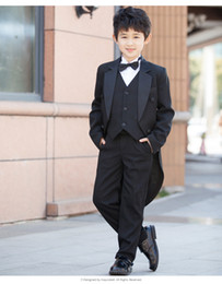 piano suit 2019 - Modern Autumn Kid Black Tailcoats Piano Performance Clothing Set Boys Stage Show Costumes Wedding Casual Party Suits For