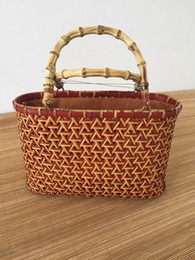 bamboo hand bags NZ - Handmade bamboo handbags woven bamboo bags women hand bags shopping basket tea storge tea collection storge nature