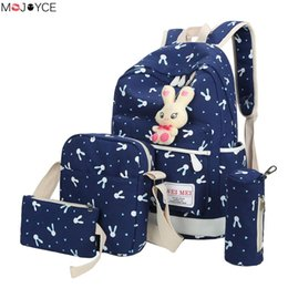 cartoons canvas for woman Australia - 4Pcs Sets 2018 Women Canvas Printing Backpacks Cartoon Rabbit School Bags for Teenage Girls Cute Travel Shoulder Bag for women Y18110201