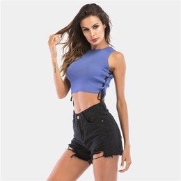 af03602d83 Sexy Sleeveless Cropped Top Solid Casual Knitted Tank Tops Women Summer Crop  Tops O Neck Cross Lace Up Slim White Womens