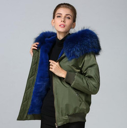 Wholesale nylon jacket hood resale online – Meifeng brand women fur jackets Blue raccoon fur trim snow coats blue rabbit fur lining army green bomber nylon jackets