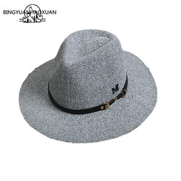 182c79c6893 BINGYUANHAOXUAN Brand 2017 Fashion England Style wide brim wool felt Hats  felt for Women Jazz Caps for Women Vintage Panama Caps