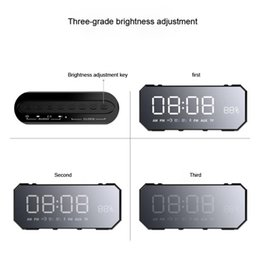China Bluetooth Mini Card NZ - Mini 10W Bluetooth Wireless Speaker with LED Clock, Lightweight, Big Sound, Bass and Large Dimmable Display