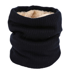 cotton winter scarves UK - Fashion Winter Scarf Thickened Wool Collar Scarves Neck Scarf Cotton Unisex Double Layer Plus Velvet Knitted Collar