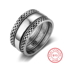 Chinese  Solid 925 Sterling Silver Rings Double Laces Retro Wave Vintage Rings For Women Wedding Silver Jewelry (RI102785) D18111405 manufacturers