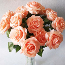 orange white roses bouquet Australia - 5pcs bouquet Silk Artificial Rose Flower Home Wedding Party Decorative Reach Touch Fake Flowers