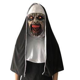 $enCountryForm.capitalKeyWord NZ - The Nun Mask LED Horror Mask With Scary Voice Red Led light Halloween Cosplay Valak Latex Masks Headgear Full Face Headscarf Helmet Mask