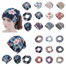 Ethnic floral scarvEs online shopping - 9Colors Women Flower Print Head Scarves Cotton Floral Ethnic Chemo Hat Turban Headwear Bandana Cancer Hijab Hats Maternity Cap AAA1081