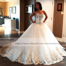 2018 Luxurious Ball Gown Corset Wedding Dresses Puffy Sweetheart lace bling  bling beads bandages Plus Size Wedding Gowns Bridal Dresses 3bf50e8bfe83