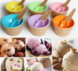 $enCountryForm.capitalKeyWord Australia - Stocked Children 'S Plastic Ice Cream Bowl Spoon Set Durable Ice Cream Cup For Kids Couples Tubs Gifts Lovely Dessert Bowl