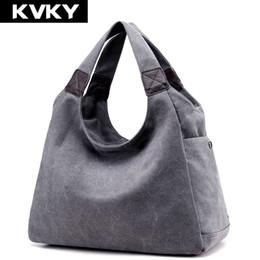 KVKY Brand Canvas Women Bag Women Handbags Fashion Design Ladies Tote Bag  Female Solid Big Shoulder Bags Travel Bolsos Mujer 40c55d3045d07