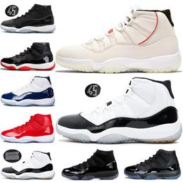 e06c4c45089c1 Nike Air Jordan Retro 11 11s AJ11Gorra y bata de baile Hombres de la noche  Zapatos de baloncesto Platino Tinte Gimnasio Rojo Bredo PRM Heiress Concord  45 ...