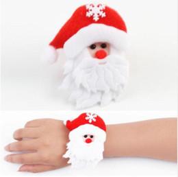 100 Pcs Natal Patting Círculo Pulseira Relógio de Natal Xmas Crianças Presente Papai Noel Boneco de Neve Cervos Ano Novo Partido Brinquedo Decoração de Pulso