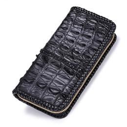 Genuine Crocodile Skin Leather NZ - Knitted Fringe Design Genuine Crocodile Leather Long Style Zipper Closure Men Wallet Alligator Skin Man Card Holder Large Purse