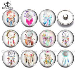 snap animals NZ - RoyalBeier 12pcs lot Dream catcher Button 18mm Glass Snaps Button Jewelry Animal Charms Fit DIY Bracelet Necklace Snaps Jewelry
