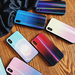 Free Cellphone Cases Australia - For iphone X Cellphone Cases Gradual Laser Tempered Glass Back Cover For iphone 7 8 6 6s plus Couple Shell Case Fashion Free DHL A795