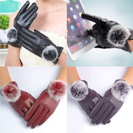 Rabbit Fur Leather Gloves Australia - 1Pair New Winter Soft Mittens Warm PU Leather Rabbit Fur Balls Female Gloves Touches Screen Women