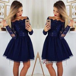 2019 Длинные рукава кружева A-Line Homecoming платья Tulle Applique короткие платья коктейль-коктейль плюс размер Vestidos De Festa BC0062