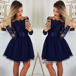 Blue green sexy short dress online shopping - 2019 Long Sleeves Lace A Line Homecoming Dresses Tulle Applique Short Prom Cocktail Party Dresses Plus Size Vestidos De Festa BC0062