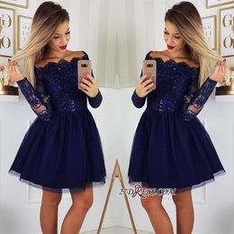2019 Long Sleeves Spitze A-Line Homecoming Kleider Tüll Applique Short Prom Cocktail Party Kleider Plus Größe Vestidos De Festa BC0062