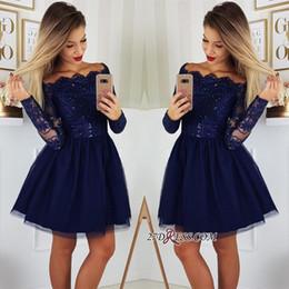 2019 Manches longues en dentelle A-ligne Robes de bal Tulle Applique courte bal Robes de cocktail Plus Size Vestidos De Festa BC0062