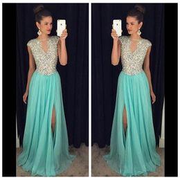 $enCountryForm.capitalKeyWord NZ - 2019 Sheer Cap Crystals Beaded Split Side Prom Dresses Rhinestones See through Custom Vestidos De Fiesta Evening Gowns Formal