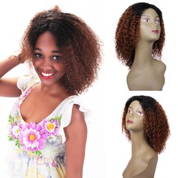 Sale Remy Full Lace Wigs Australia - Fashion cheap discount on sale 100% unprocessed remy virgin human hair short ombre color afro curly full lace cap wig for women