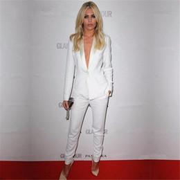 Vente en gros Blanc formel femmes pantalons d'affaires costumes Slim veste élégant bureau conceptions uniformes dames pantalon costume femme 2 pièce ensemble