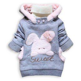 Cartoon Rabbit Hoodies Australia - Baby Girls Clothes 2018 Children Cartoon Rabbits Outerwear Kids Winter Casual Hoodie Children Long Sleeve Warm Clothing 2-6Years
