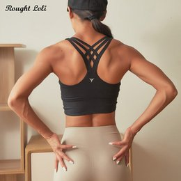 $enCountryForm.capitalKeyWord NZ - Rough Loli Strappy Back Sports Bra for Women Push Up Yoga Crop Top Sexy Workout Gym Fitness Padded Top Activewear Running Bra