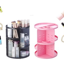Box Jewelry Storage Organizer Black Canada - Rotation Makeup Organizer Brush Holder Jewelry Case Jewelry Cosmetic Storage Box Dresser Skin Care 360degree Rotary Cosmetics Storage Rack