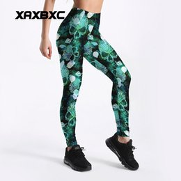 8a1a45fe59 2018 Summer New 4056 Mermaid Scale Skull Printed Elastic Sexy Femme Sport  Yoga Pants GYM Fitness Workout Polyester Women Leggings Plus Size