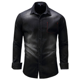 China Denim Washed Shirts Men Long Sleeve Male Leisure Dress Shirt Mens Jean Shirts Camisa Masculina Plus Size suppliers
