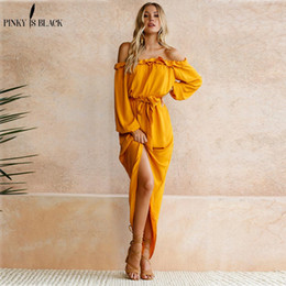 feminine dresses 2019 - Pinky Is Black Women Beach Boho Maxi Dress 2018 Summer High Quality Off Shoulder Yellow Vintage Long Dresses Feminine Ru