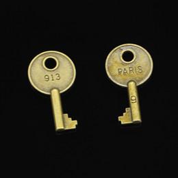 30pcs Charms in lega di zinco bronzo antico placcato parigi chiave per monili che fanno DIY pendenti fatti a mano 40 * 22mm in Offerta