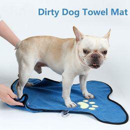 Pet Towels NZ - Dirty Dog Towel Mat Quick Dry Dog Towel Blue Paws Soft Absorbent Microfiber Pet Bath Cleaning Pet Mats