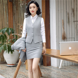$enCountryForm.capitalKeyWord Canada - New fashion work wear women office clothing vest skirt pant suits office uniforms female plus size vest with skirt pant sets