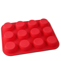 $enCountryForm.capitalKeyWord Canada - Silicone Mold Non-Stick 12 Cups Cupcake Baking Tray Mousse Cake Mold Muffin Pan Silicone Fondant Mat Cake Tools Kitchen Bakeware