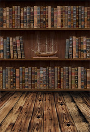 bookshelf backdrop 2019 - Laeacco Old Wooden Floor Bookshelf Ship Model Study Photographic Backgrounds Customized Photography Backdrops For Photo
