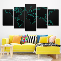 Panel Canvas Print Black Wall Australia - Modular Canvas Painting For Living Room Wall Art Print Picture Gift Home Decoration 5 Panels World Map Black Background Painting