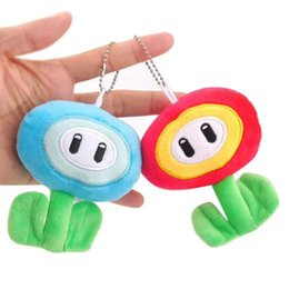 "fire toys NZ - Top New 2 Styles 4"" 10CM Super Mario Bros Ice Fire Flower Plush Doll Anime Collectible Keychains Pendants Stuffed Dolls Gifts Soft Toys"