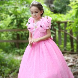 Wholesale 2018 Boutique Elegant Flower Girl dress Princess Maxi dresses wedding dresses with Butterfly for Stage Birthday party Pink Yellow Free DHL