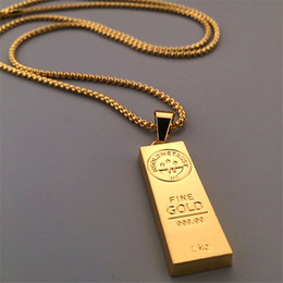 $enCountryForm.capitalKeyWord NZ - Stainless Steel Necklace Iced Out Golden Bar shape Pendant Round Box Chain Fortune Charm Necklace Hip Hop Mens Christmas Gift