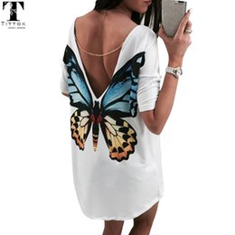 $enCountryForm.capitalKeyWord Canada - X907 Butterfly Casual V neck mini women t shirt dress bohe chiffon dress women's summer casual dresses 2017women summer beach dress