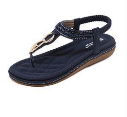 5259dd37aa33e2 Fashion Leather Women Sandals Bohemian Diamond Slippers Woman Flats Flip  Flops Shoes Summer Beach Sandals GA238