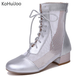 $enCountryForm.capitalKeyWord Canada - wholesale Big Size 33-45mesh Women Sandal Boots Square High Heels Lace Up Round Toe Hollow Out White Black Silver Ankle Boots